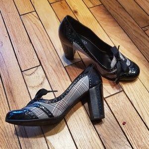 Franco Sarto Wingtip Plaid, Patent Leather Heels